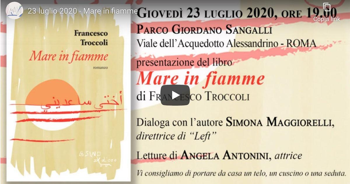 Mare in fiamme presentazione dal vivo a Roma 2020